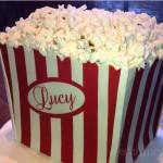 Cake shaped like box of popcorn