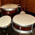 Cakes shaped like drum set