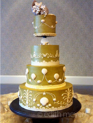 Shells wedding cake