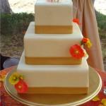 Square poppy wedding cake