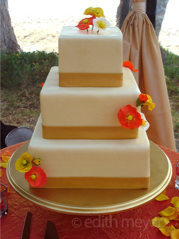 Square poppy wedding cake