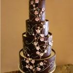 Dark chocolate cherry blossom cake