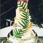 White chocolate plam frond cake