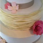 Detail of white chocolate ruffle cake