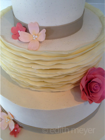 Detail of white chocolate ruffle cake